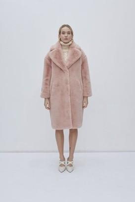 Jakke London - Katie Faux Fur Long Coat Baby Pink - XS
