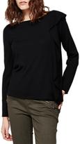 Mint Velvet Ruffle Side Knit, Black