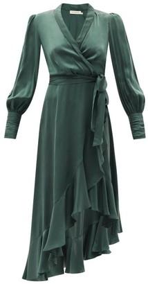 Zimmermann Bishop-sleeve Silk Wrap Midi Dress - Green