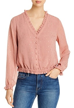 Cupcakes And Cashmere Maddie Ruffled Metallic-Dot Blouse