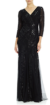 Adrianna Papell Three-Quarter Sleeve Beaded Wrap Front Gown, Black