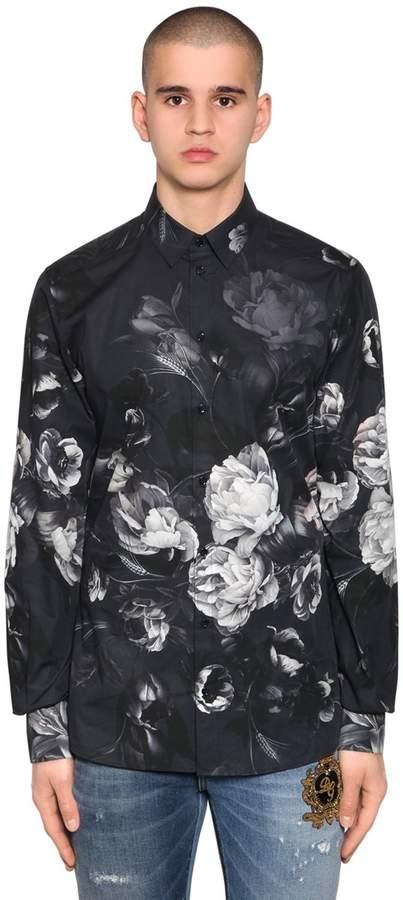 Dolce & Gabbana Gold Fit Floral Cotton Poplin Shirt