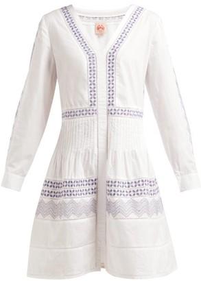Le Sirenuse Le Sirenuse, Positano - Dori Zigzag-embroidered Cotton Dress - Womens - White Multi