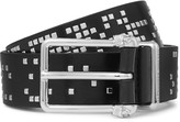 Alexander McQueen Black 3cm Studded Leather Belt