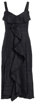 Proenza Schouler Tweed Ruffle Midi Dress