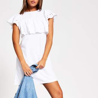River Island White broderie frill mini T-shirt dress