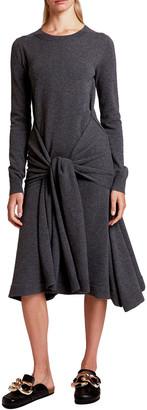J.W.Anderson Wool Crewneck Tie-Waist Dress