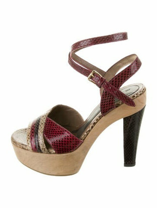 Marni Snakeskin Platform Sandals Red