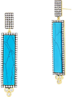 Freida Rothman Color Theory Pave Bar Drop Earrings, Turquoise-Hue