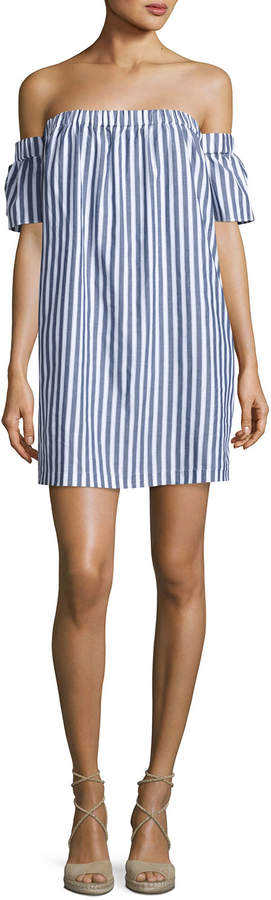 Milly Off-the-Shoulder Striped Poplin Shirtdress, Multi