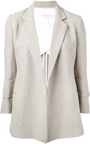 Victoria Beckham cropped sleeve blazer - women - Cotton/Linen/Flax/Polyester/Spandex/Elastane - 8