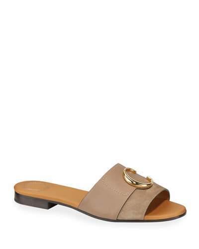 def7b0b07d C Flat Leather Slide Sandals