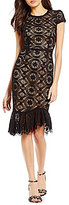 Betsey Johnson Illusion Ruffle Hem Midi Sheath Dress