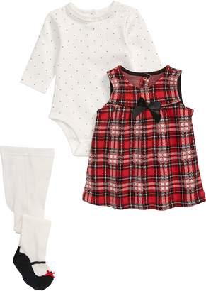Little Me Rose Plaid Dress, Polka Dot Bodysuit & Leggings Set