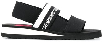 Love Moschino Logo Band Wedge Sandals