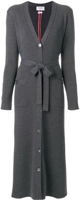 Thom Browne Half-and-half Rib Knit Striped Long Cardigan