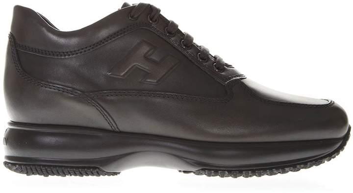 Hogan Interactive Grey Leather Sneakers