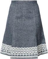 Oscar de la Renta A line skirt with detailed hem - women - Silk/Linen/Flax - 8