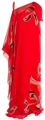 Emilio Pucci Heliconia Print Silk Chiffon Gown