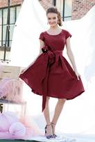 Shabby Apple Soho Fit & Flare Dress Burgundy