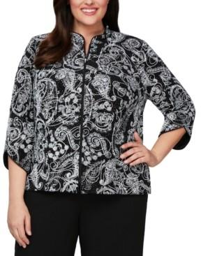Alex Evenings Plus Size 3/4-Sleeve Printed Zip-Front Jacket