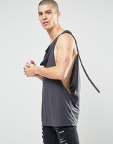 Asos Longline Sleeveless T-Shirt With Extreme Dropped Armhole And Scarf Detail