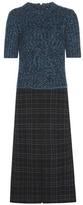 Bottega Veneta Knitted And Plaid Wool-blend Printed Dress