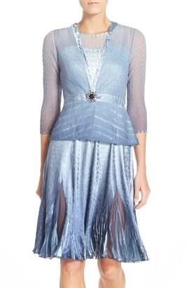 Komarov Embellished Neck Tulip Hem A-Line Dress with Jacket