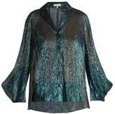 DELPOZO Draped-sleeved silk-blend shirt