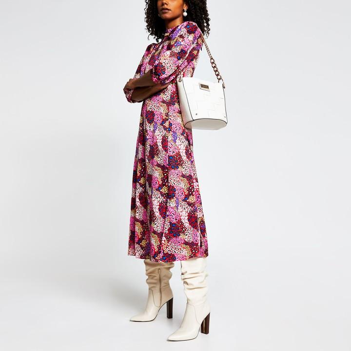 River Island Womens Pink animal print long sleeve midi dress