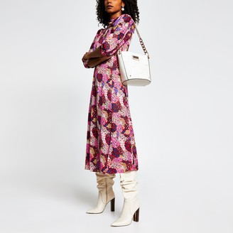 River Island Womens Pink animal print long sleeve midi dress