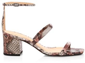 Alexandre Birman Lally Ankle-Strap Snakeskin Sandals