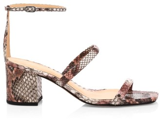 Alexandre Birman Lally Ankle-Strap Snakeskin Sandals