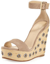 Jimmy Choo Lotus Embroidered Wedge Sandal
