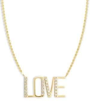 Lana Diamond& 14K Yellow Gold Love Pendant Necklace