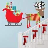 Oopsy Daisy Fine Art For Kids Peel and Place Reindeer and Sleigh by Vicky Barone, 54 by 30-Inch by