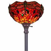 AMORA Amora Lighting AM040FL14 Tiffany Style Dragonfly Torchiere Floor Lamp 72 In
