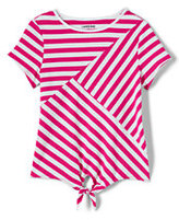 Lands' End Little Girls Tie Front Pieced Knit Top-Hot Pink Large Stripe