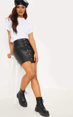 PrettyLittleThing Tall Black Faux Leather Button Detail Bodycon Skirt