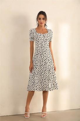 Miss Floral Dalmatian Spot Print Puff Shoulder Split Midi Dress In White