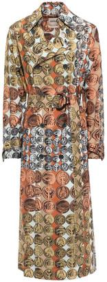 Roberto Cavalli Belted Printed Silk Trench Coat