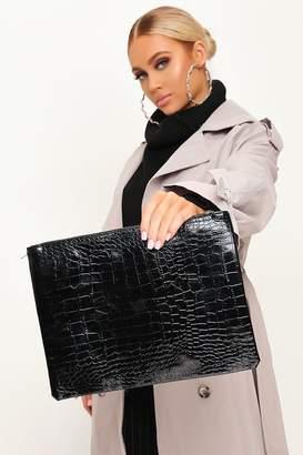 I SAW IT FIRST Black Croc Patent Large Clutch Bag