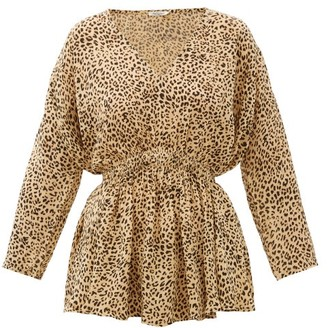 Mes Demoiselles Roseau Leopard-print Crepe Blouse - Beige Print