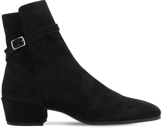 Saint Laurent 40mm Clementi Suede Ankle Boots