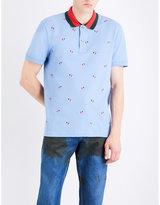 Gucci Love Heart-embroidered Cotton-piqué Polo Shirt
