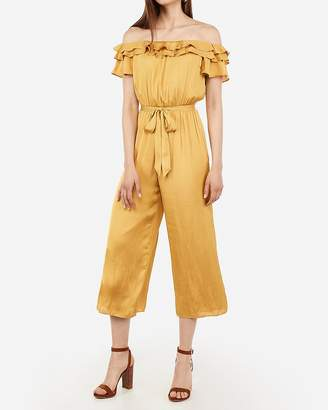 Express Satin Double Ruffle Off The Shoulder Jumpsuit