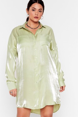 Nasty Gal Womens Shine On Tonight Plus Shirt Dress - Mint