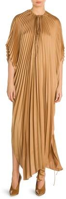 Stella McCartney Pleated Tie-Waist Satin Maxi Dress