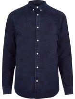 River Island MensDark blue wash check denim shirt