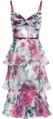 Marchesa Tiered Twist-front Floral-print Organza Dress
